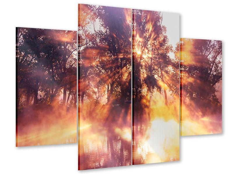 Acrylglasbild 4-teilig Die Waldspiegelung