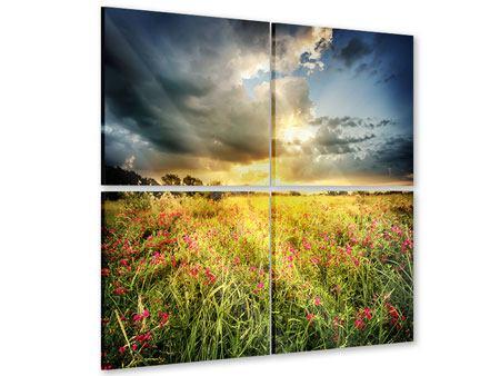 Acrylglasbild 4-teilig Die Blumenlandschaft