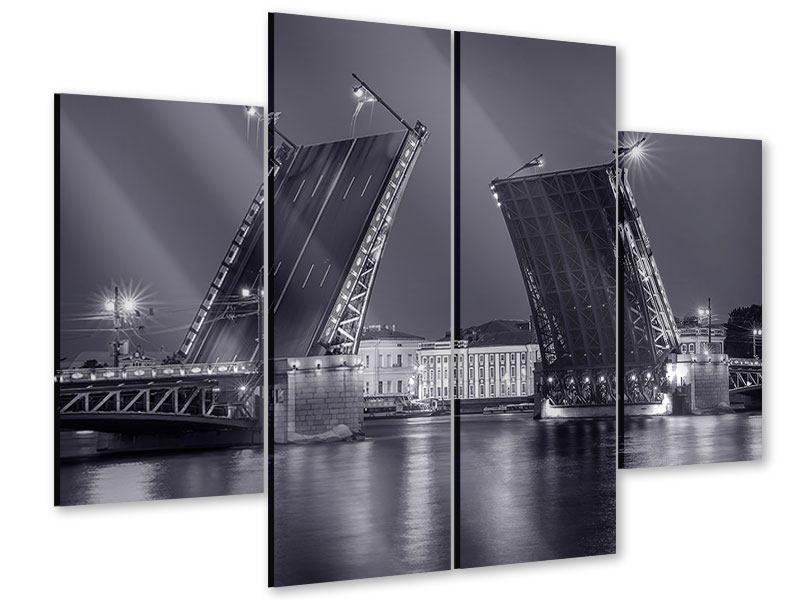 Acrylglasbild 4-teilig Klappbrücke bei Nacht