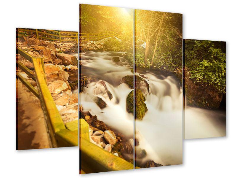 Acrylglasbild 4-teilig Sonnenuntergang am Wasserfall