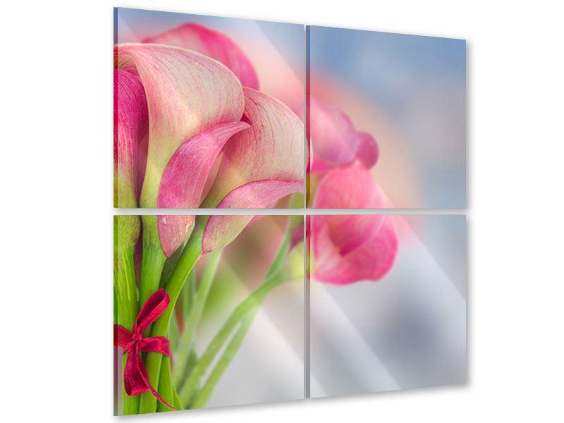 Acrylglasbild 4-teilig Der Lilienstrauss