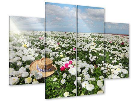 Acrylglasbild 4-teilig Die Frühlingsblumenwiese