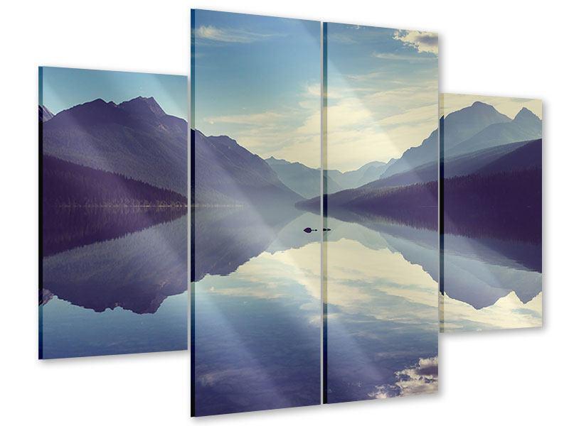 Acrylglasbild 4-teilig Bergspiegelung