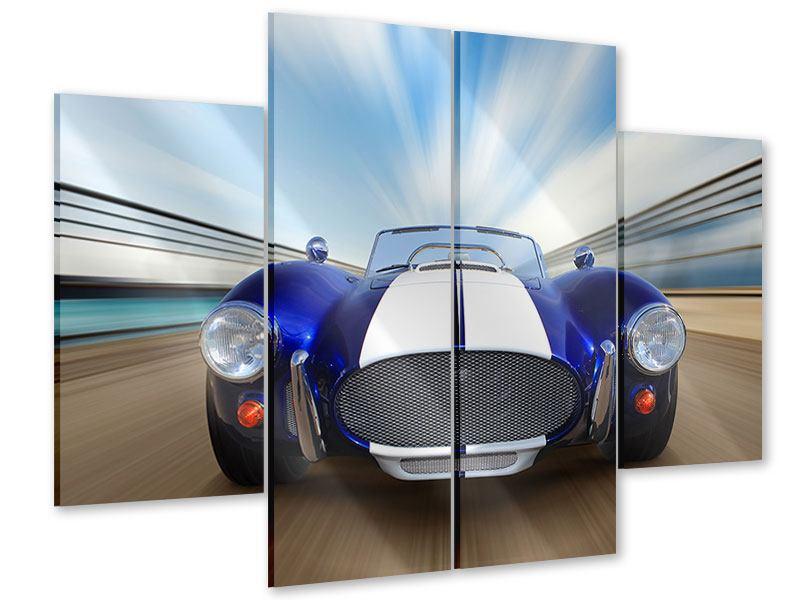Acrylglasbild 4-teilig Rennwagen