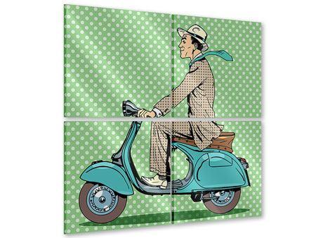 Acrylglasbild 4-teilig Pop Art Vespafahrer