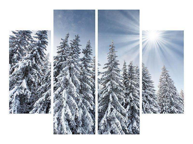Acrylglasbild 4-teilig Wintertannen