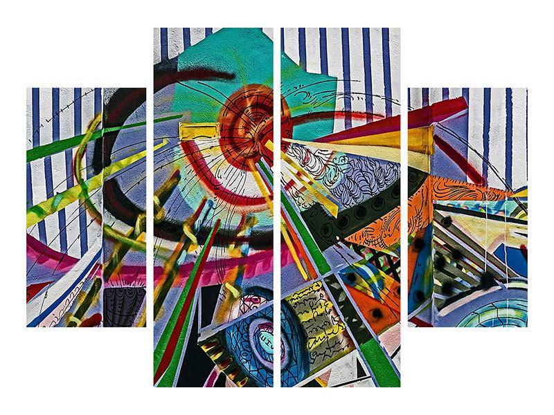 Acrylglasbild 4-teilig Künstlerisches Graffiti