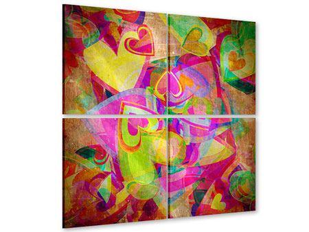 Acrylglasbild 4-teilig Retroliebe