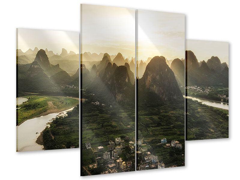 Acrylglasbild 4-teilig Die Berge von Xingping
