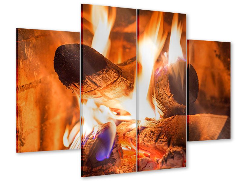 Acrylglasbild 4-teilig Kaminfeuer