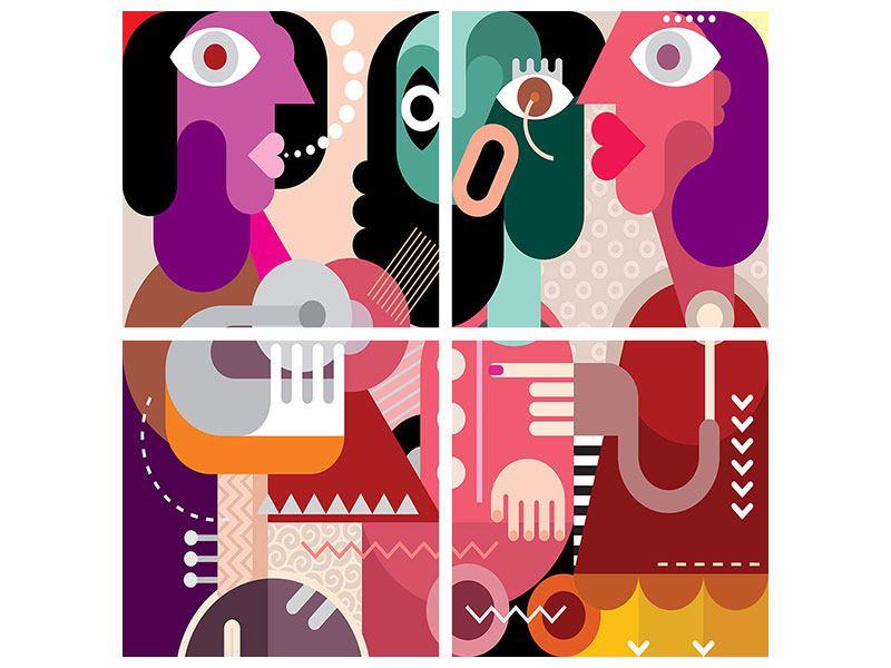 Acrylglasbild 4-teilig Moderne Kunst Frauen