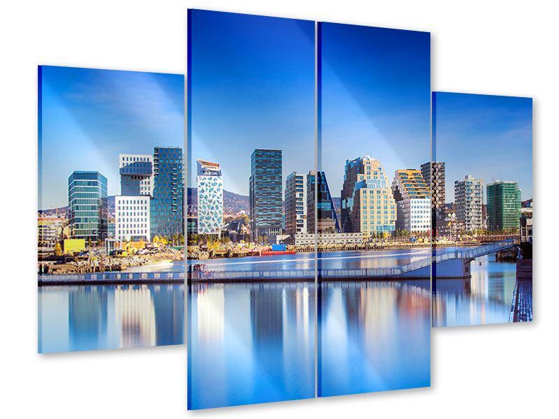 Acrylglasbild 4-teilig Skyline Oslo