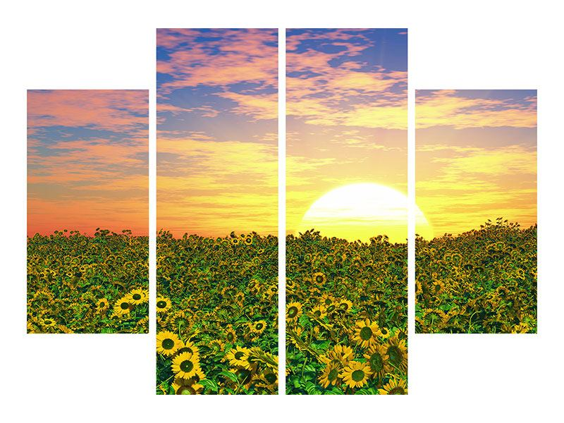 Acrylglasbild 4-teilig Blumenpanorama bei Sonnenuntergang