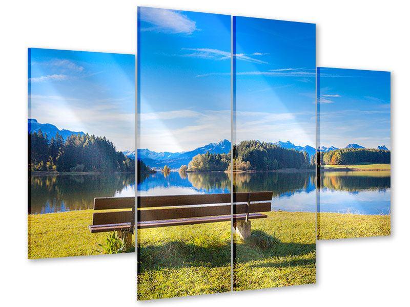 Acrylglasbild 4-teilig Sitzbank mit Bergpanorama