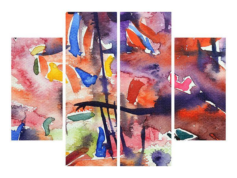 Acrylglasbild 4-teilig Aquarell