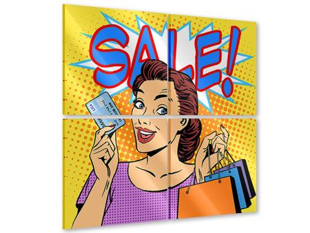 Acrylglasbild 4-teilig Pop Art Sale