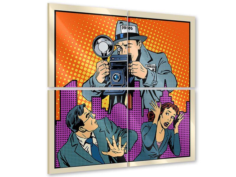 Acrylglasbild 4-teilig Pop Art Paparazzi