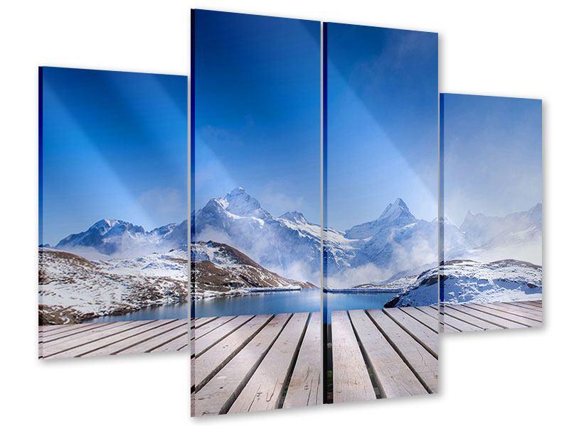Acrylglasbild 4-teilig Sonnenterrasse am Schweizer Bergsee