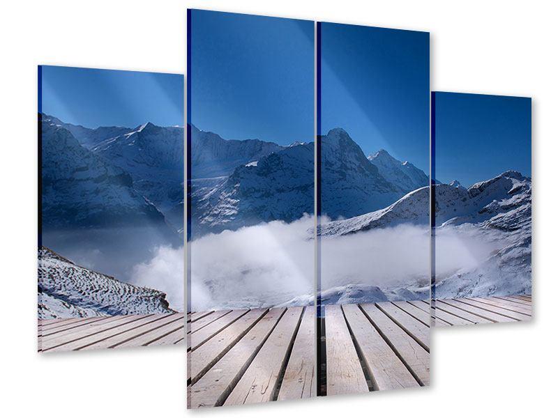 Acrylglasbild 4-teilig Sonnenterrasse in den Schweizer Alpen