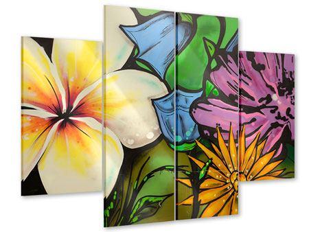 Acrylglasbild 4-teilig Graffiti Flowers