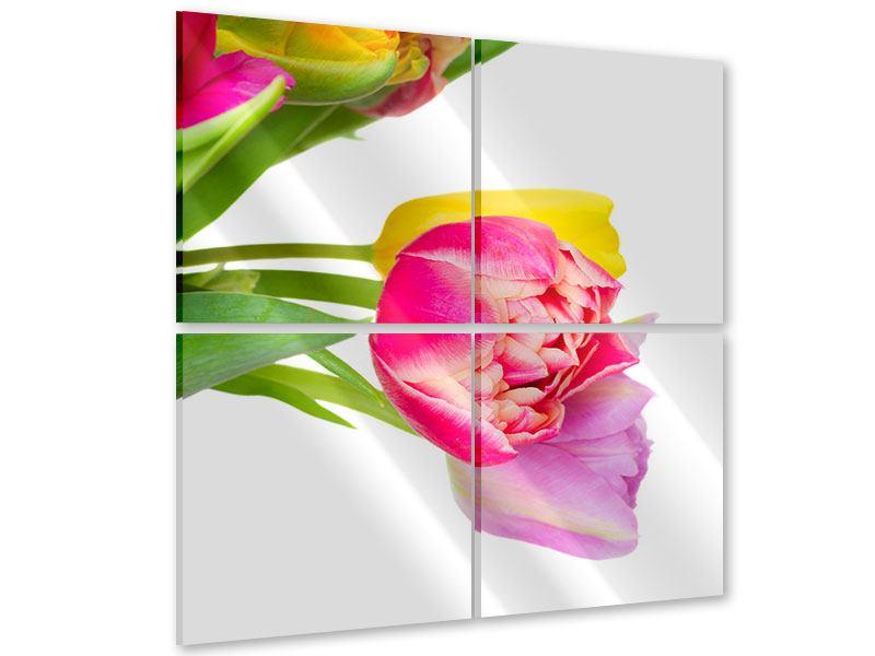 Acrylglasbild 4-teilig Ein bunter Tulpenstrauss