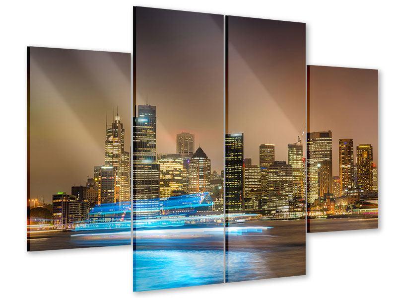 Acrylglasbild 4-teilig Skyline Sydney im Lichtermeer