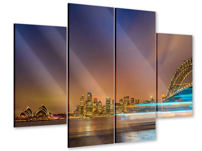 Acrylglasbild 4-teilig Skyline Opera House in Sydney im Abendlicht