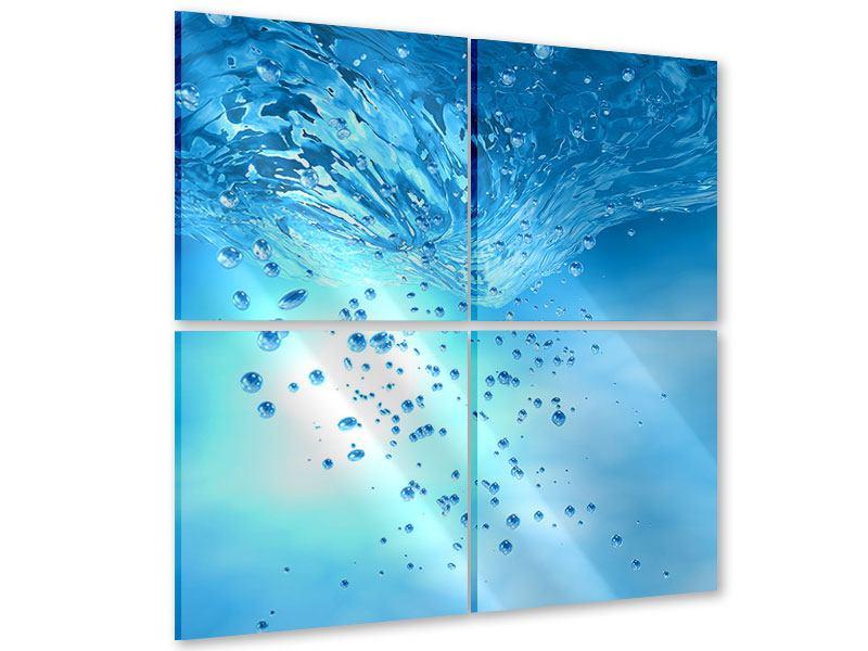 Acrylglasbild 4-teilig Wasserblasen