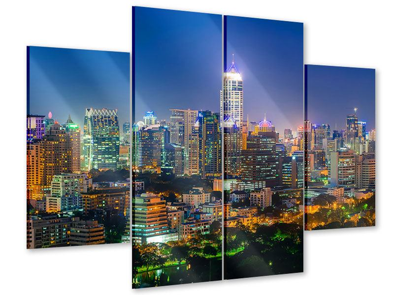 Acrylglasbild 4-teilig Skyline One Night in Bangkok