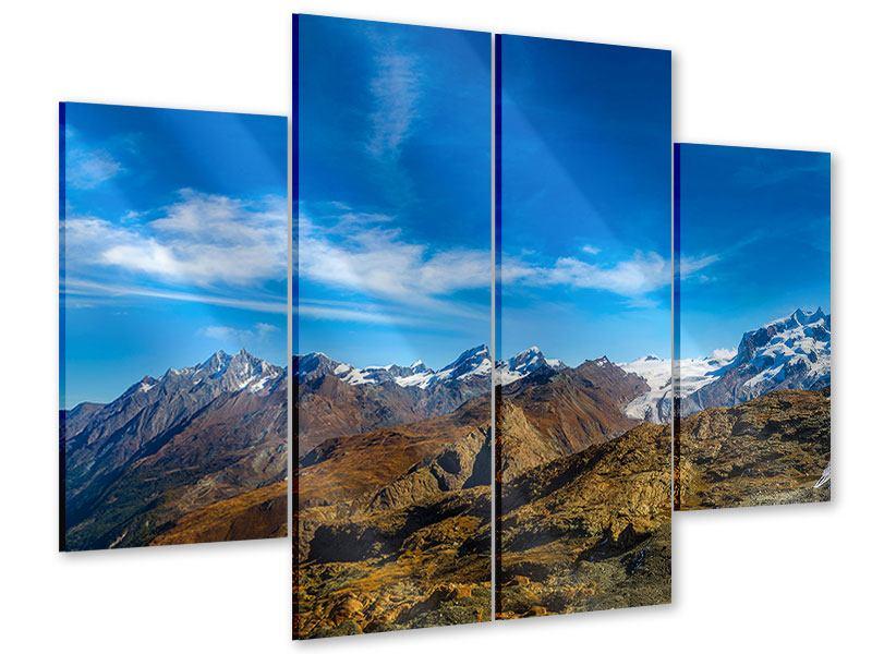 Acrylglasbild 4-teilig Schweizer Alpen im Frühling
