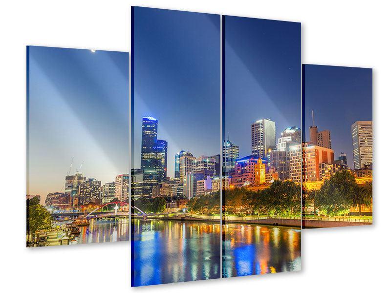 Acrylglasbild 4-teilig Skyline Sydney in der Abenddämmerung