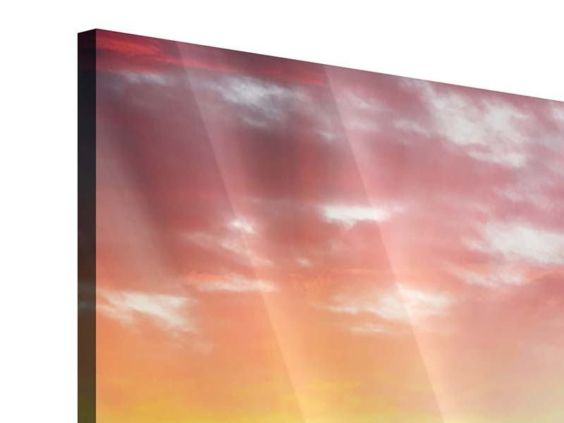 Acrylglasbild 4-teilig Skyline London im Abendrot