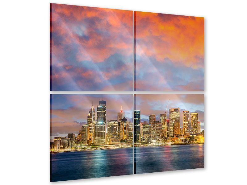 Acrylglasbild 4-teilig Skyline Das Lichtermeer von Sydney