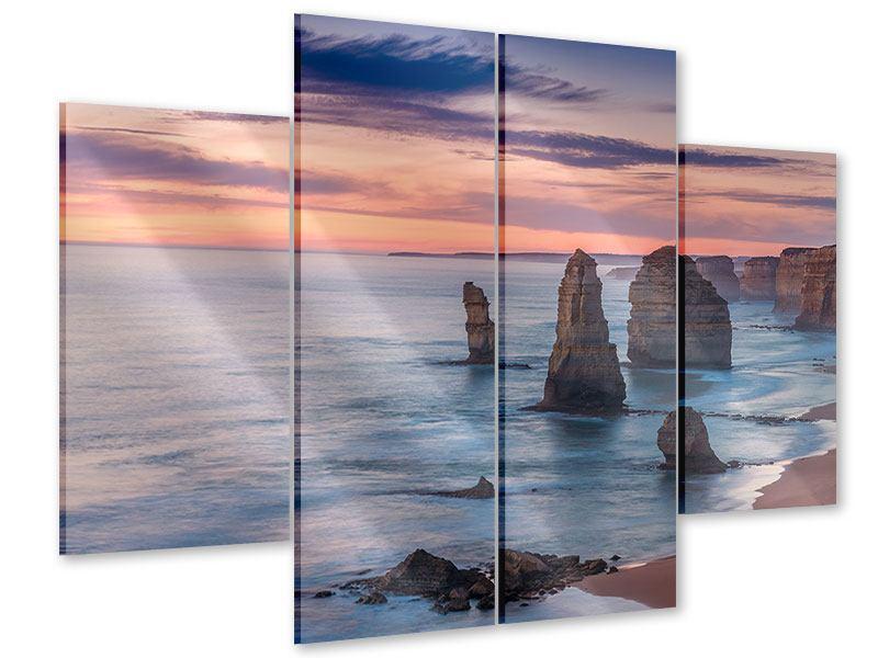Acrylglasbild 4-teilig Felsen in der Brandung