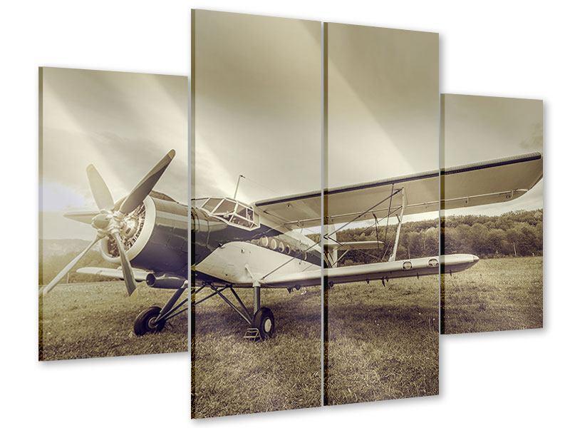 Acrylglasbild 4-teilig Nostalgisches Flugzeug im Retrostyle