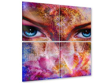 Acrylglasbild 4-teilig Psychedelic Face