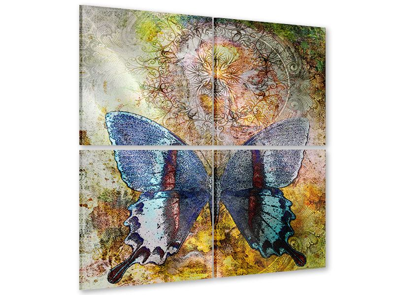 Acrylglasbild 4-teilig Ornament-Schmetterling