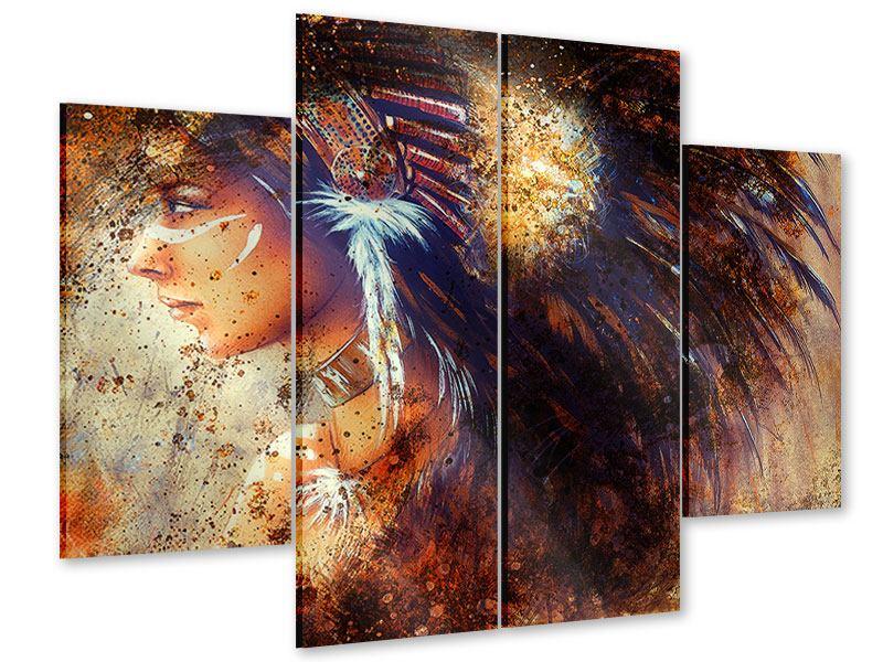 Acrylglasbild 4-teilig Indianer