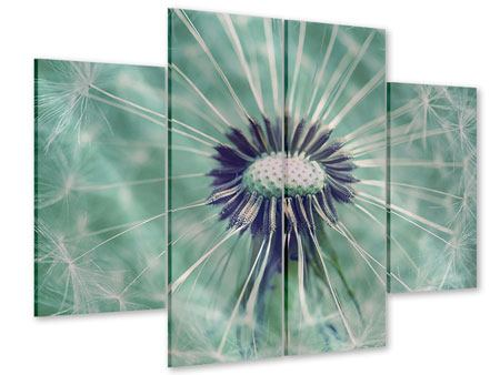Acrylglasbild 4-teilig Close Up Pusteblume
