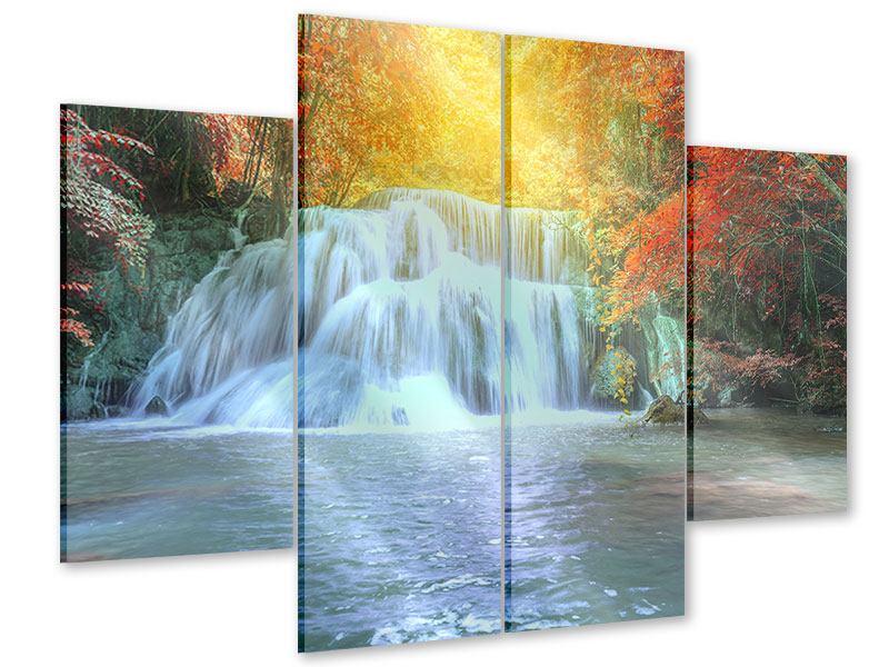 Acrylglasbild 4-teilig Wasserfall im Licht
