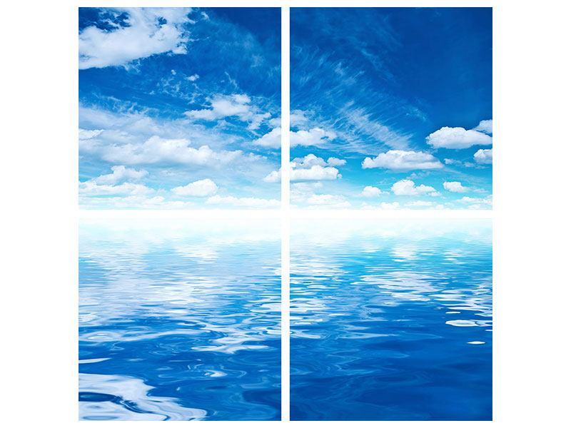 Acrylglasbild 4-teilig Himmel und Wasser