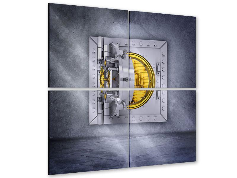 Acrylglasbild 4-teilig Gefüllter Tresor