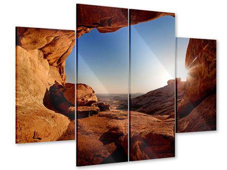 Acrylglasbild 4-teilig Sonnenuntergang vor der Höhle