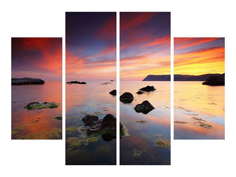 Acrylglasbild 4-teilig Ein Sonnenuntergang am Meer