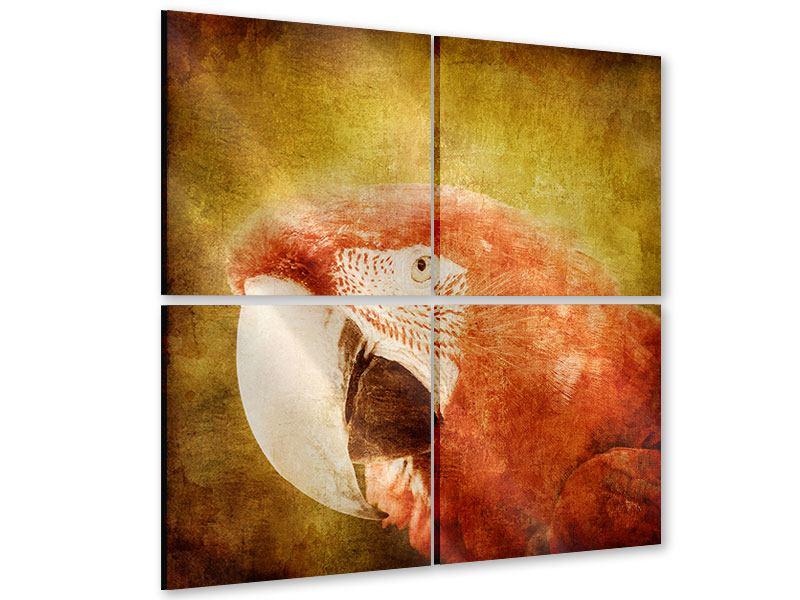 Acrylglasbild 4-teilig Ara im Retrostyle
