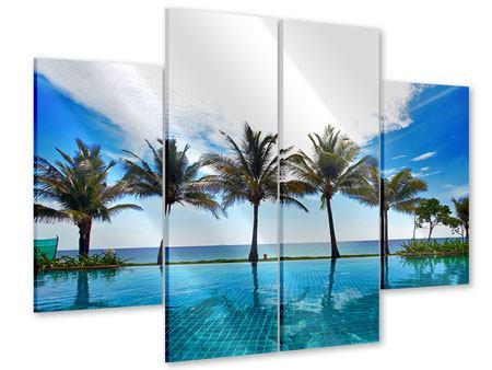 Acrylglasbild 4-teilig Strandvilla