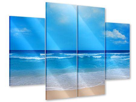 Acrylglasbild 4-teilig Sanfte Strandwellen