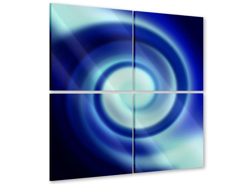 Acrylglasbild 4-teilig Abstrakte Blaue Wirbel