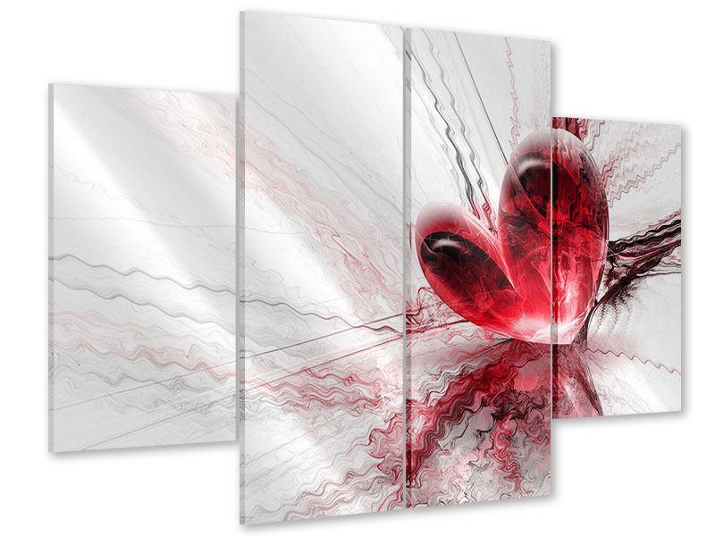 Acrylglasbild 4-teilig Herzspiegelung