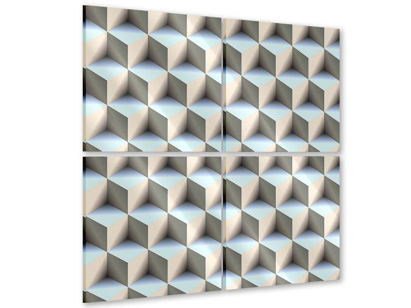 Acrylglasbild 4-teilig 3D-Polytop